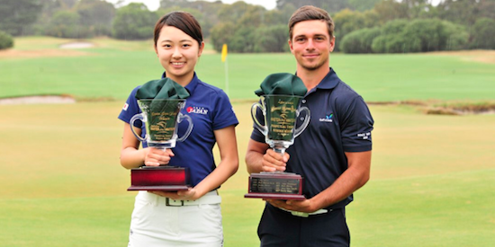 Women's Division winner Yuka Yasuda (L) <br>and Men's Division winner David David Micheluzzi (R) <br>(Australian Master of the Amateurs Photo)