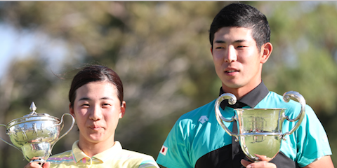 Suzuka Yamaguchi (L) and Keita Nakajima (R) lead Japanese charge at the <br>Australian Amateur <br>(Golf Australia Photo)