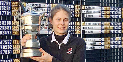 The numbers on the scoreboard behind Isobel<br>Wardle tell the story (England Golf photo)