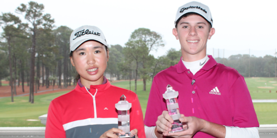 Sea Pines Junior Heritage winners Siyan Chen (L) and Jansen Smith (R) <br>(SCGA Photo)