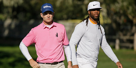 Kevin Streelman (L) and Larry Fitzgerald put on a show at Pebble Beach<br>(Eric Risberg/AP photo)