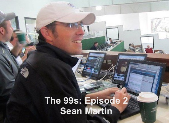 Have coffee, will write. Sean Martin at The Masters media center