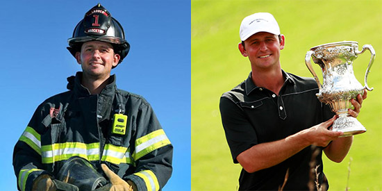 The two lives of Matt Parziale: on Ladder 1 of the Brockton Fire Department, and on<br>the golf course as a USGA champion (John Tlumacki/Boston Globe and USGA photos)