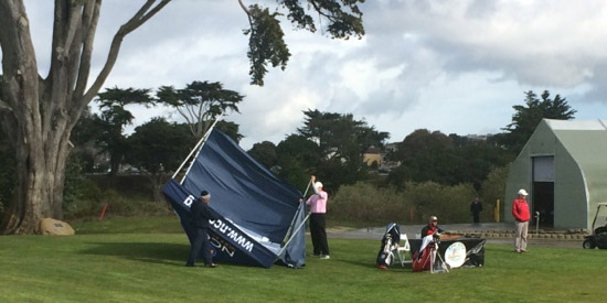 The day got off to a blustery start, as evidenced by this tent blowover at Harding Park