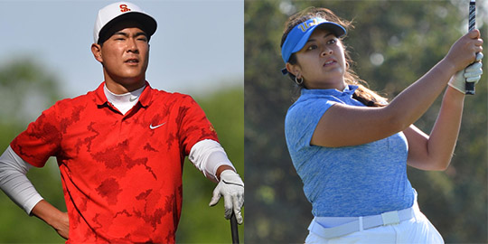Justin Suh and Lilia Vu are the two hottest golfers in college golf<br>(USC and Golfweek photos)