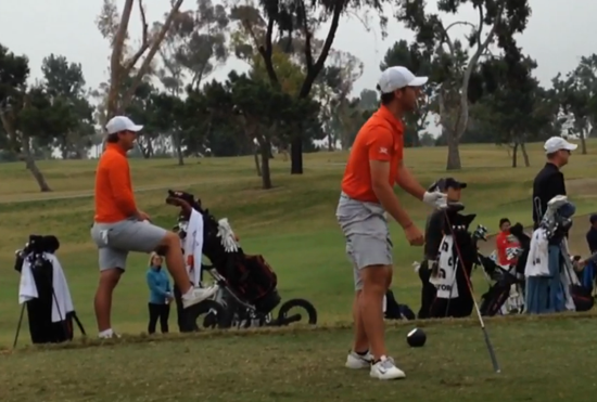 OSU's Matt Wolff eyes his tee ball at San Diego Country Club (Kerry Booth photo)