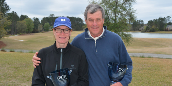 Shelly White (L) and Larry White (R) capture Georgia Mixed Team title <br>(GSGA Photo)