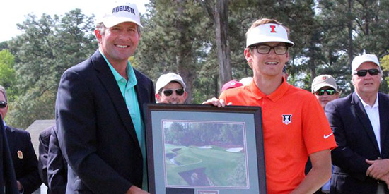 For champion Dylan Meyer (R), a framed print of the 13th at Augusta National<br>(University of Illinois photo)