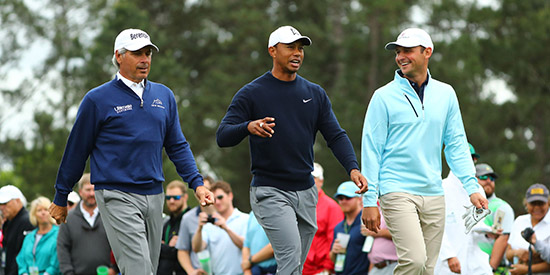 Matt Parziale (R) with Fred Couples and Tiger Woods (USA Today photo)