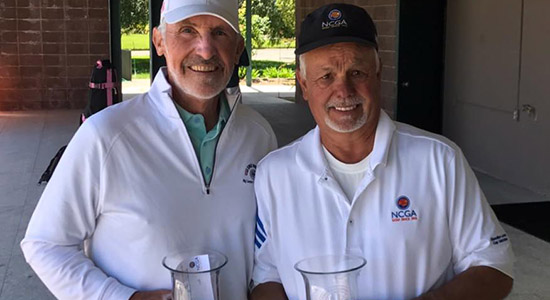 Winner Gary Vanier (R) and Jim Knoll, two senior legends of Northern California golf