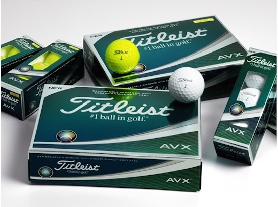 The Titleist AVX is available in white and high-optic yellow