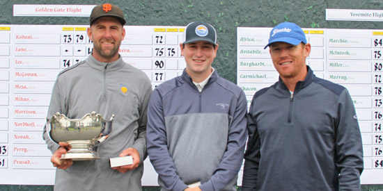 Champion Ben Peters (L) with Ned Jensen and Garrett Wagner (NCGA photo)