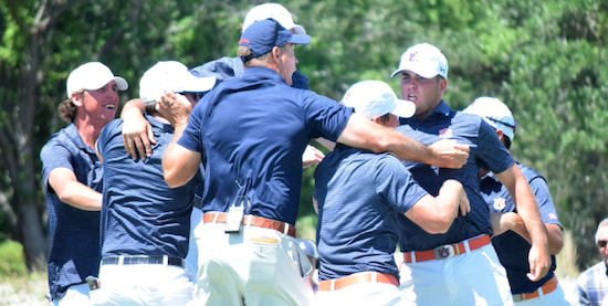 Auburn celebrates their first SEC title since 2002 <br>(Auburn Athletics Photo)