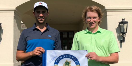 Joey Savoie (L) with former St. Leo teammate and now caddy Liam Ainsworth.<br> The two played together on 2016 NCAA Division II St. Leo national title team <br>(TN Golf Association Photo)