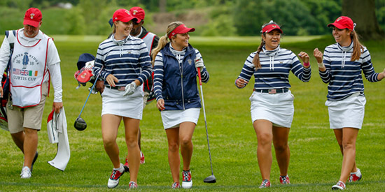 The mood in practice was light but tensions will soon ratchet up (USGA photo)