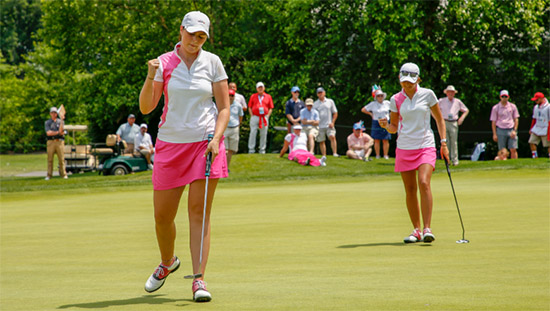 Olivia Mehaffey (L) after making her putt to halve the match (USGA photo)