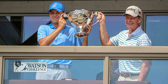 Andy Spencer (L) and tournament namesake Tom Watson (Watson Challenge photo)
