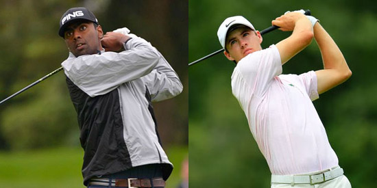 Sahith Theegala (L) and Alex Smalley lead at -4<br>(John McCoy/Elite Performance Coaching photos)