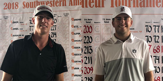Jordan Hahn (L) and Wells Padgett (Southwestern Amateur photo)