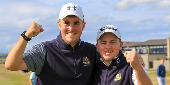 Caolan Rafferty (right) with caddie Eoin Murphy (IGU photo)