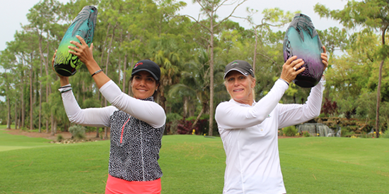 Mary Jane Hiestand (right) raises senior trophy at Florida Women's Open. <br>Sandra Angulo Minarro won the title (FSGA photo)