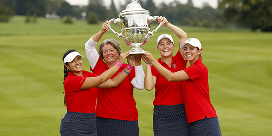 The U.S. hoists the Espirito Santo Trophy in Ireland (USGA photo)