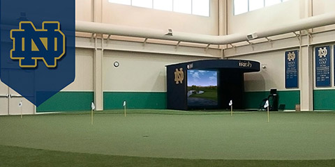 A deluxe indoor practice facility is one of<br>the perks of playing golf at Notre Dame<br>(TruGolf photo)