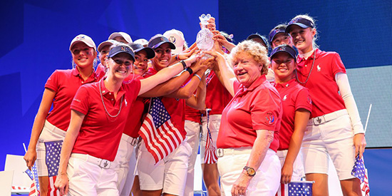 The 2015 winning U.S. Junior Solheim Cup team (Solheim Cup/Twitter photo)