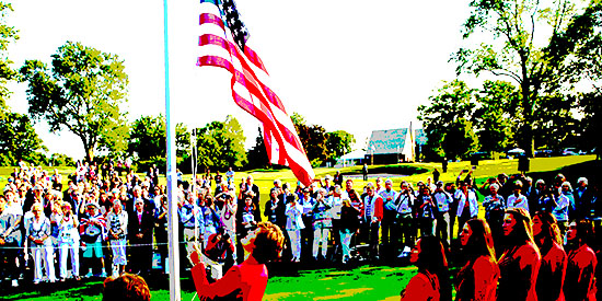 Opening ceremonies at the Curtis Cup (USGA photo/AGC photo illustration)