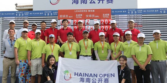 Comings (2nd from left) and Oyervides (3rd from left) in China (World Am photo)
