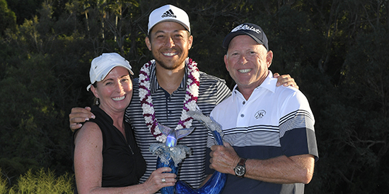 Xander Schauffele with Ben Whipple (right) and wife Bennie (Photo submitted)