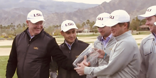 LSU coach Chuck Winstead (left) and his team eye their Prestige prize in the desert
