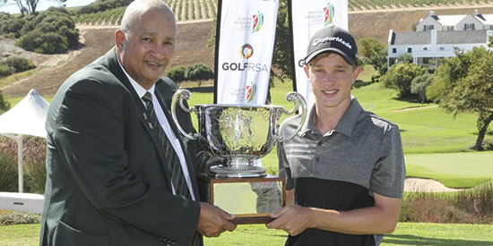 Jayden Schaper accepting the trophy (GolfRSA/Withers and Son Photography photo)