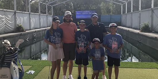 Tommy Fleetwood and Rory McIlroy during their clinic (First Tee North Florida photo)