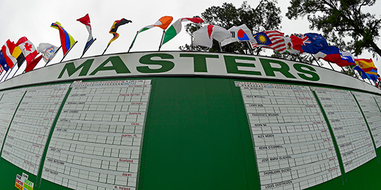 The Masters leaderboard (Augusta National image)