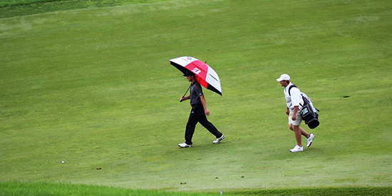 Defending champion Beau Breault and his caddie Zach Sudinsky (GAM photo)