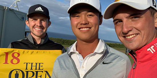 Brandon Wu (center) qualified from St. Andrews along with Connor Syme and Sam Locke<br>(R&A Twitter photo)