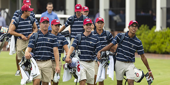 The U.S. team during a practice session at Pinehurst (USGA/Chris Keane)