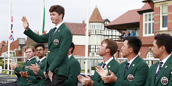 Cole Hammer during the opening Walker Cup ceremony (USGA/John Mummert)