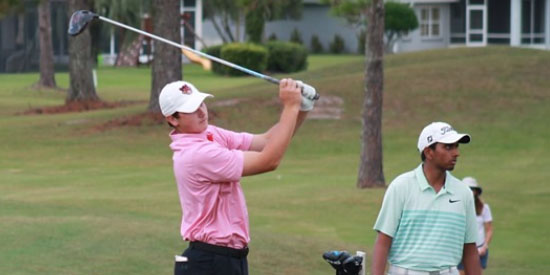 Ty Gingerich tees off on No. 1 at St. Johns GC<br>(St. Augustine Amateur photo)