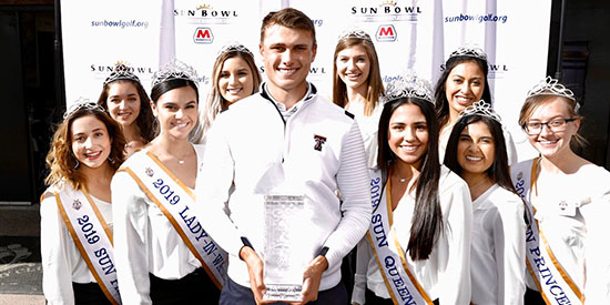 Ludvig Aberg with the Sun Queen and Court (Texas Tech Twitter photo)