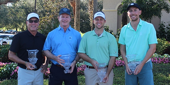 Mike Smith & Will Davenport (R) with senior champs Steve Riviere and Rick Cloninger (FSGA photo)