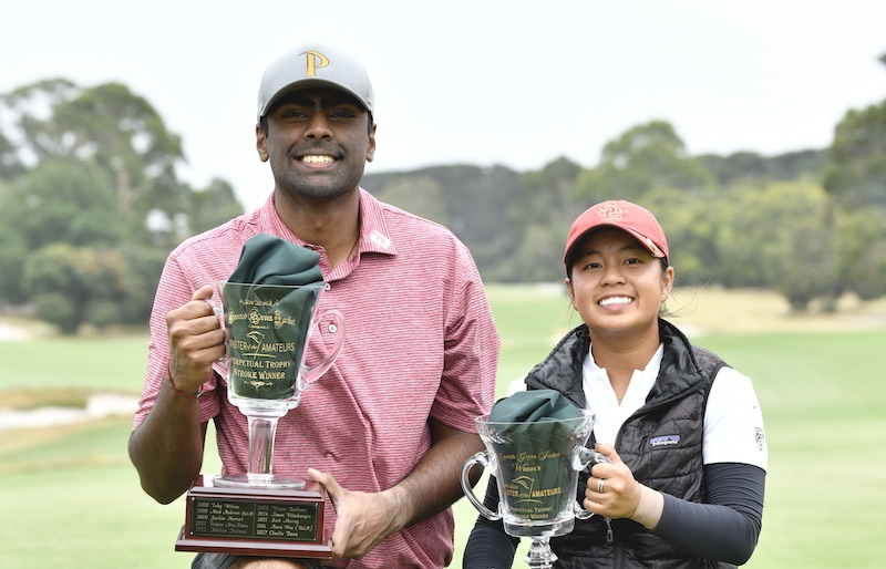 Master of the Amateurs champions Sahith Theegala and Alyaa Adulghany