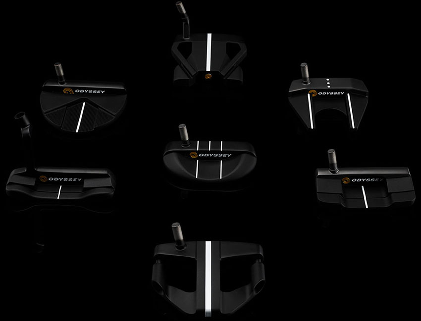 The seven Odyssey designs in Stroke Lab Black (Callaway photo)