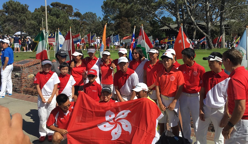 The five-petaled, white orchid flag of Hong Kong at the IMG Junior World