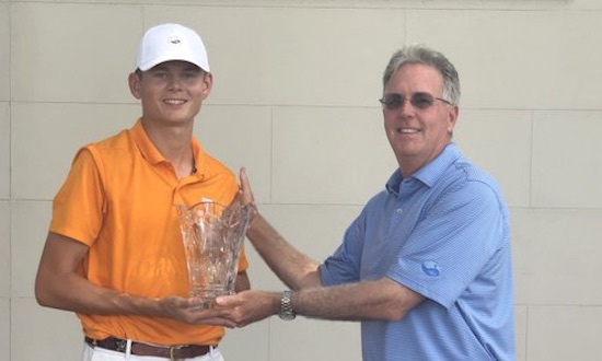 Winner Bryce Lewis and Brunswick GC head pro Dan Hogan