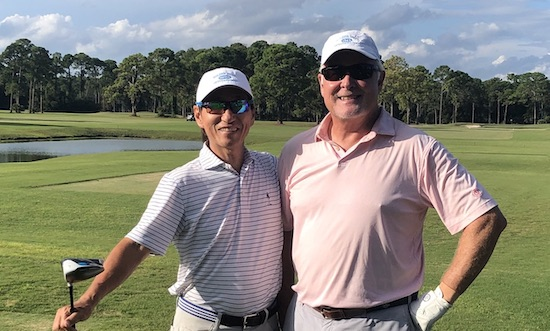 Toshi Hirata (left) eagled the third playoff hole to defeat Stevie Cannady