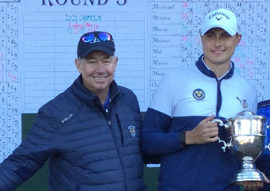 Nathaniel Crosby with Jones Cup winner Ludvig Aberg at the Jones Cup<br> (Kevin Price for AmateurGolf.com)