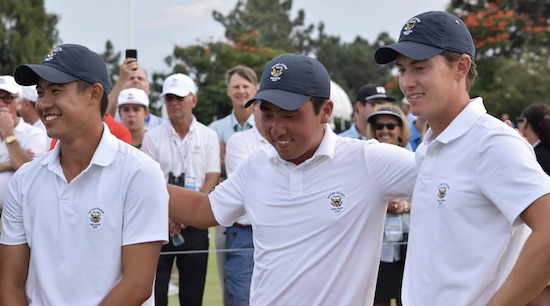 Collin Morikawa, Doug Ghim, and Maverick McNealy <br>after winning the 2017 Walker Cup at Los Angeles CC